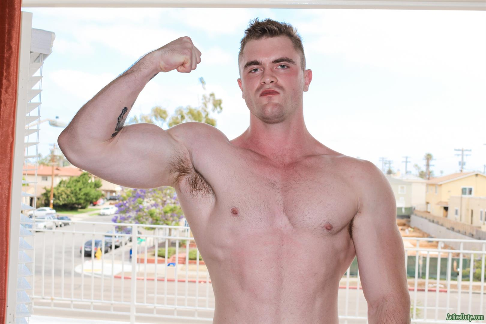 Active-Duty-Scott-Ambrose-Muscle-Naked-Marine-Jerking-Off-Amateur-Gay-Porn-09 Hairy Muscular American Marine Jerks His Thick Cock