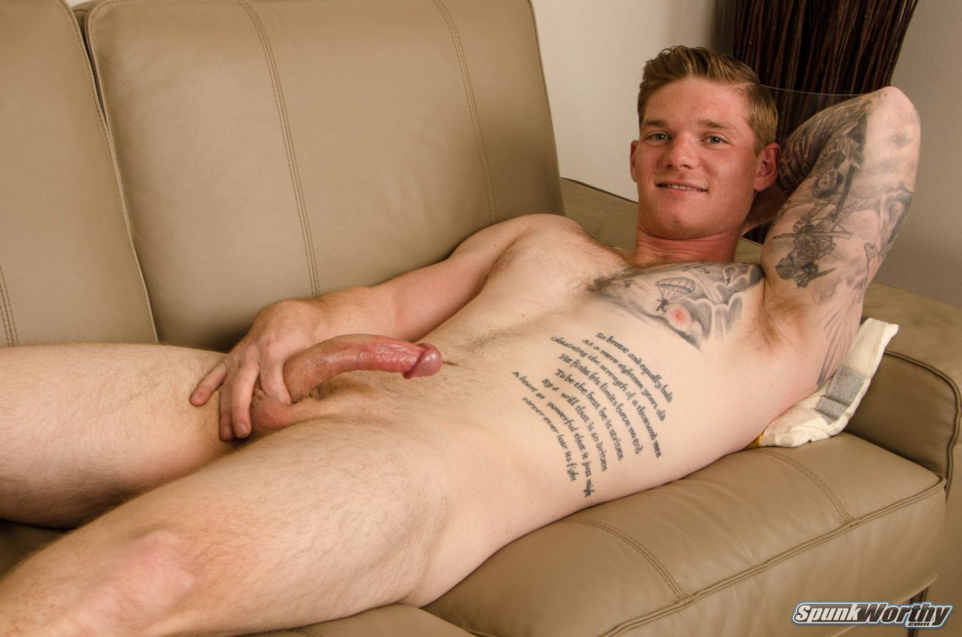 SpunkWorthy-Doug-Naked-Marine-Jerking-Off-Redhead-14 Muscular Redhead Marine Strokes His Magnificently Big Cock