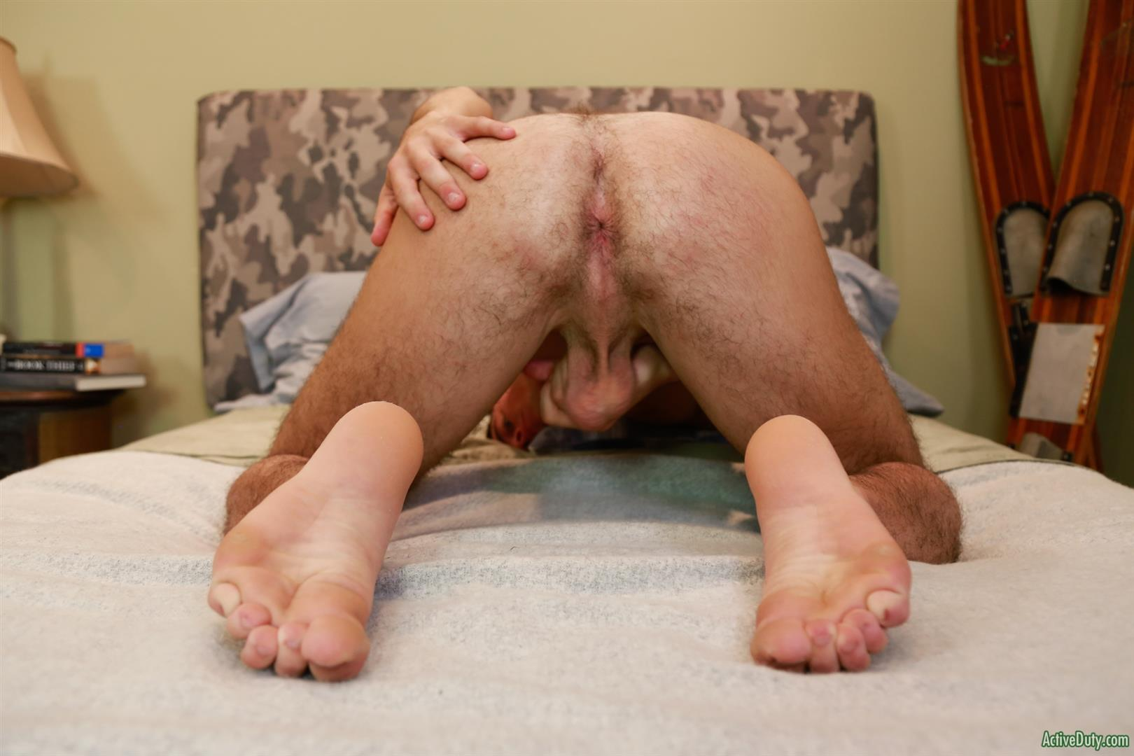 Active-Duty-Tyler-Austin-Naked-Soldier-Jerking-Off-Big-Cock-11 Hairy Ass Army Boy Gets Naked And Jerks Off For Money